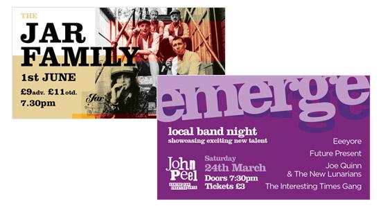 John Peel centre digital design Facebook graphics