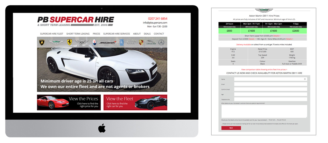 Supercar Hire Website Design