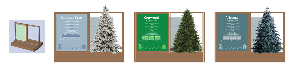 Christmas Tree plinth Point of Sale visuals