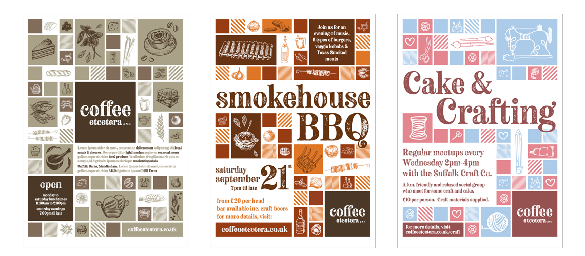 Poster designs for Suffolk coffee shop