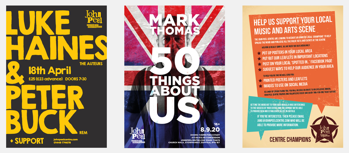 Poster designs for Peter Buck, Luke Haines, Mark Thomas and the John Peel Centre