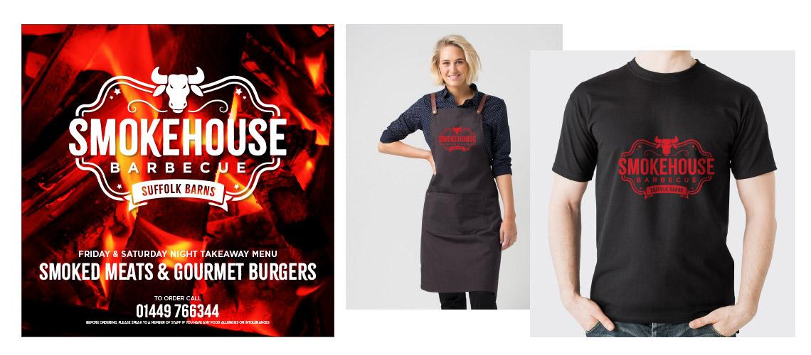 Smokehouse menu and clothing designs
